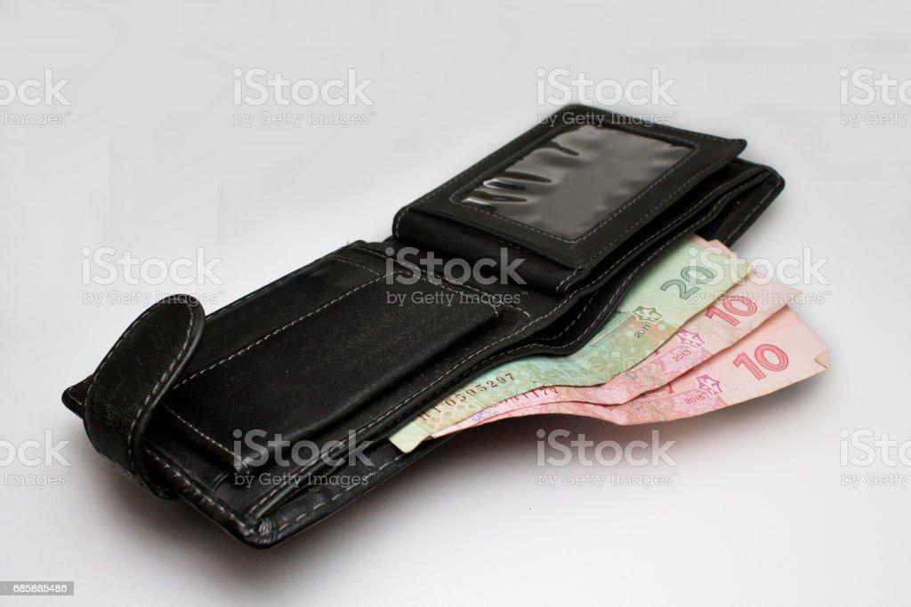 ukrainian grivna in wallet on white background stock photo