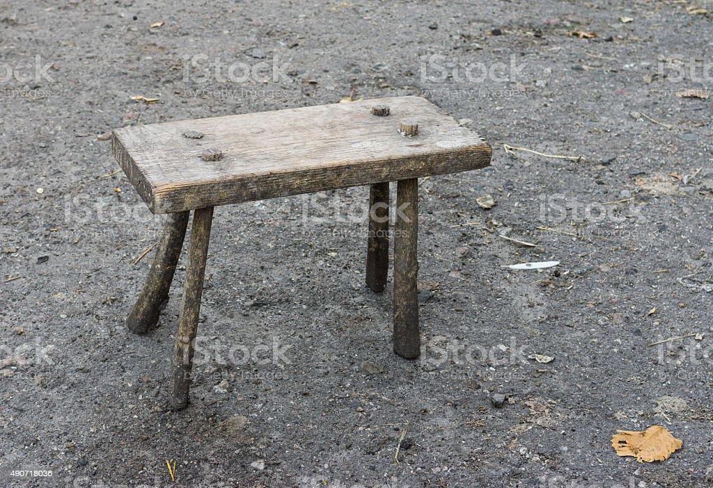 Ukrainian handmade stool stock photo