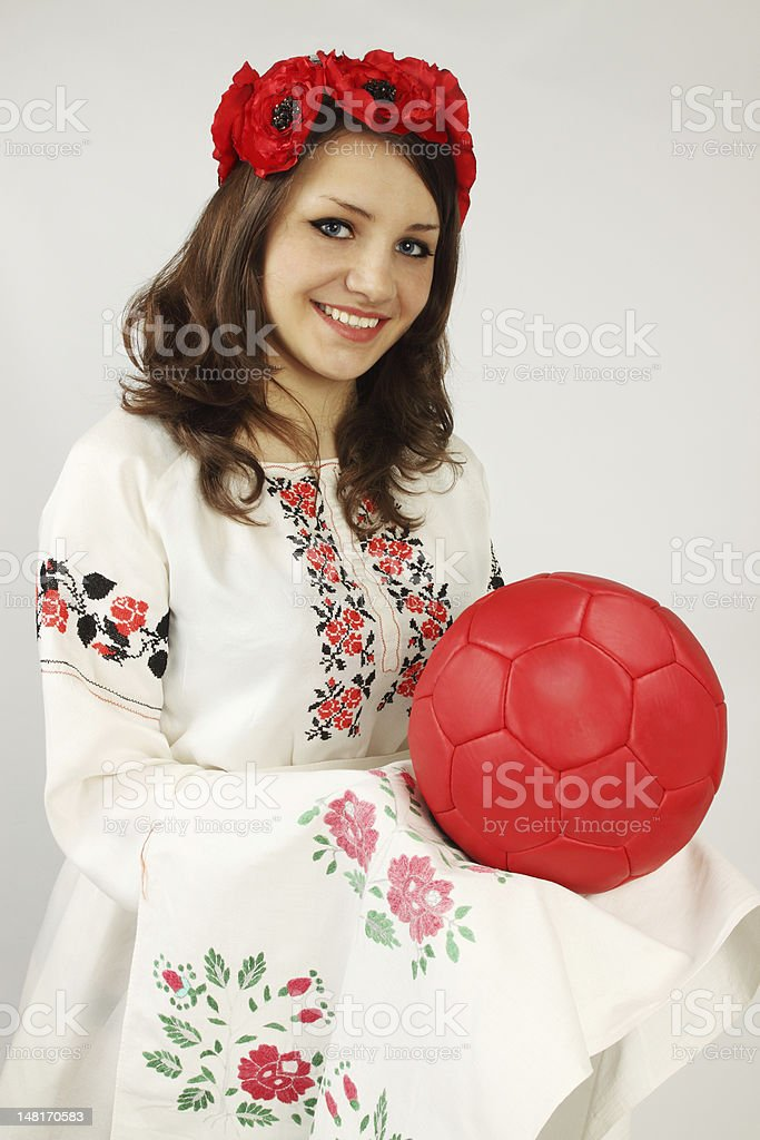 Ukrainian holds red ball royalty-free stock photo