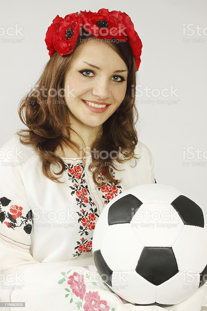Ukrainian holds soccer ball royalty-free stock photo