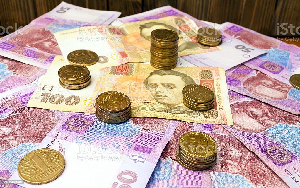 ukrainian hryvnia and ukrainian coins stock photo