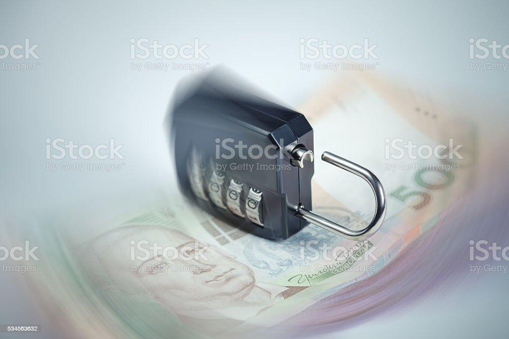 Ukrainian hryvnia fall concept stock photo