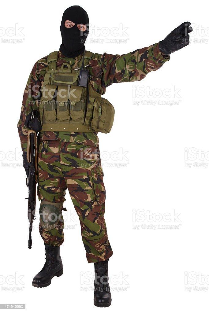 Ukrainian militiaman with kalashnikov rifle stock photo