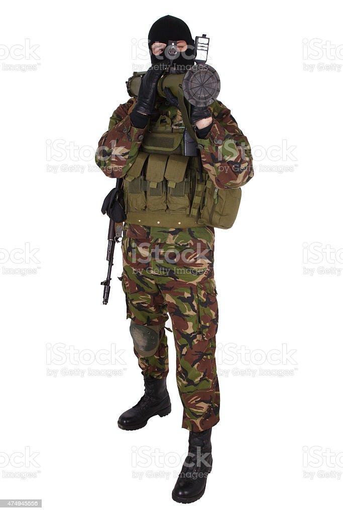 Ukrainian militiaman with RPG grenade launcher stock photo