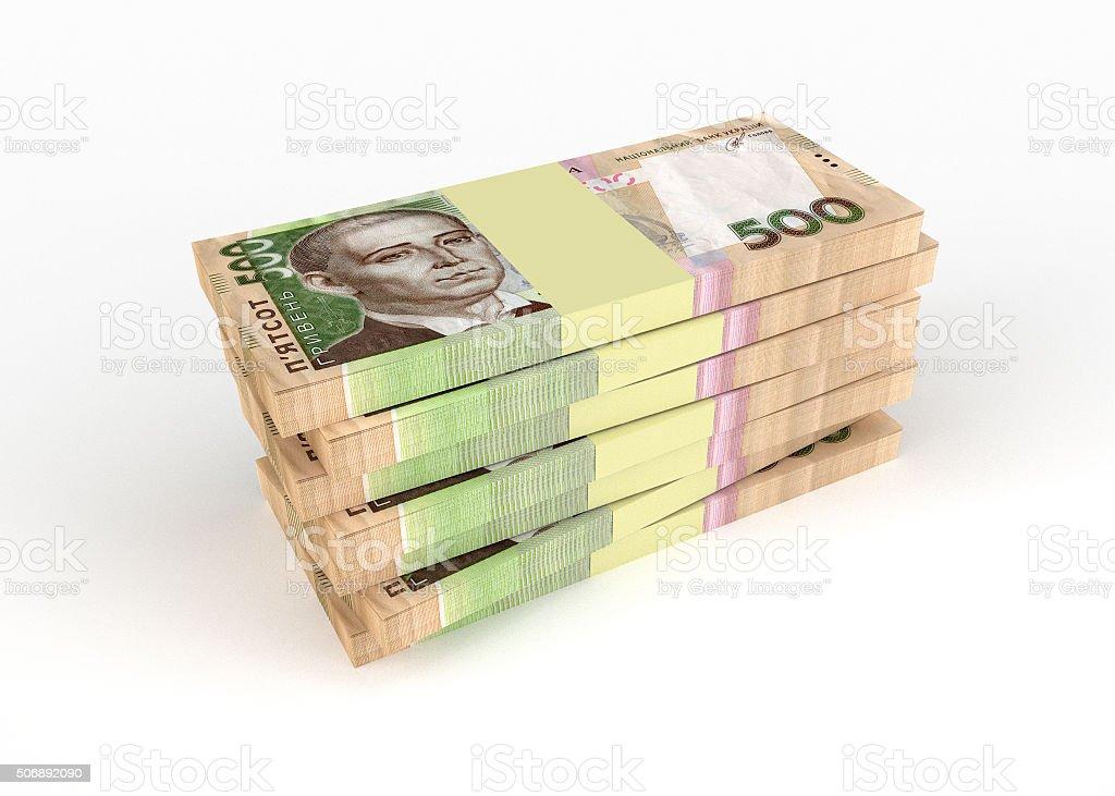 Ukrainian money hryvnia stock photo