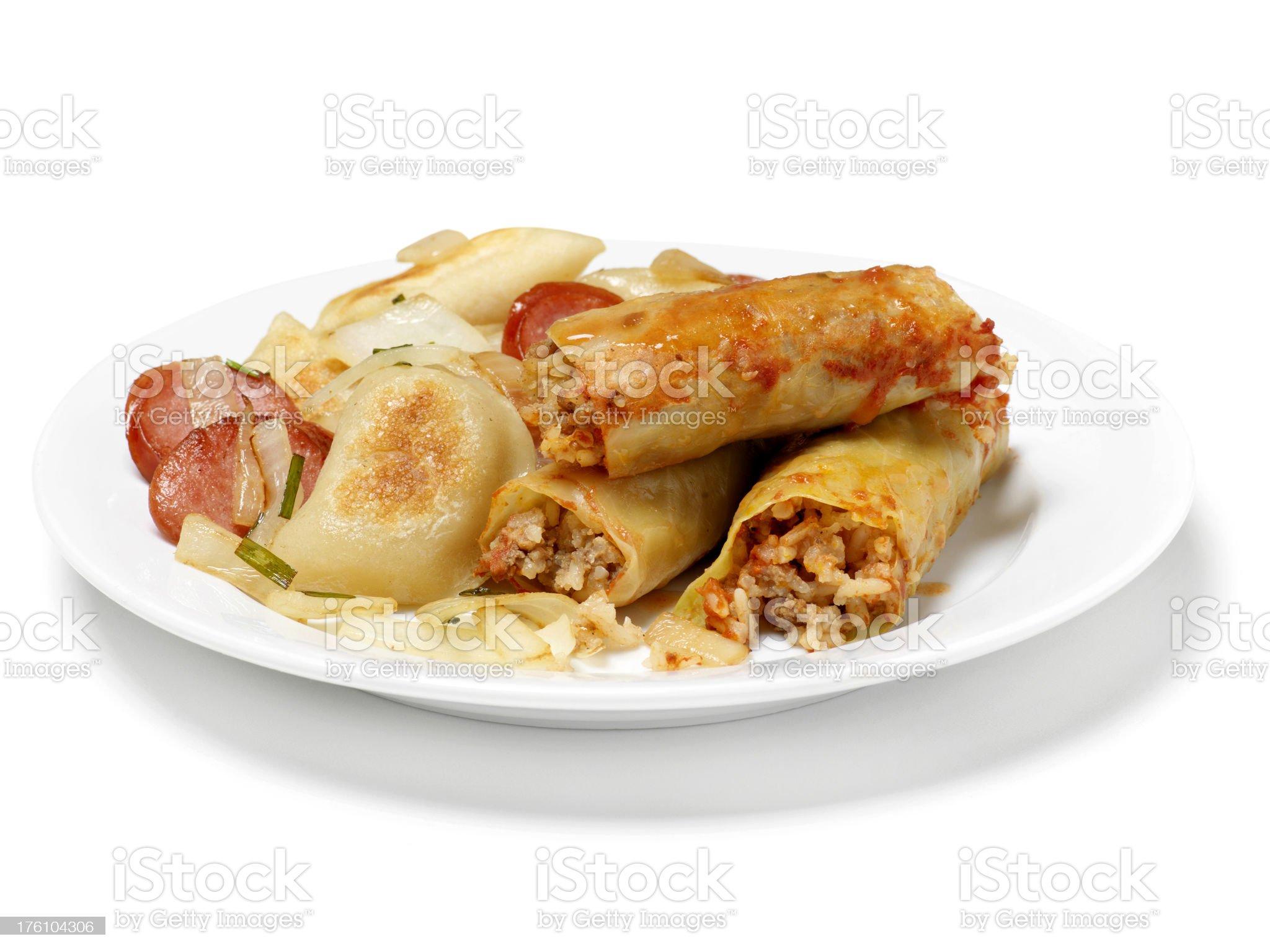 Ukrainian Pan Fried Perogies royalty-free stock photo