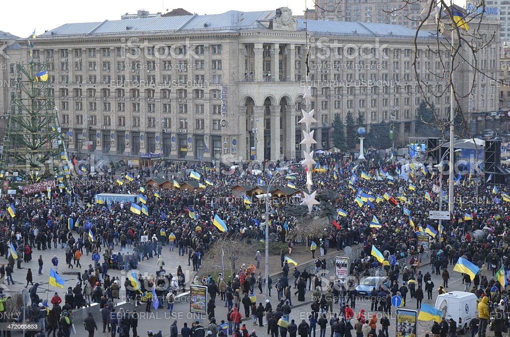 Ukrainian people gathered in the central Independence Square royalty-free stock photo
