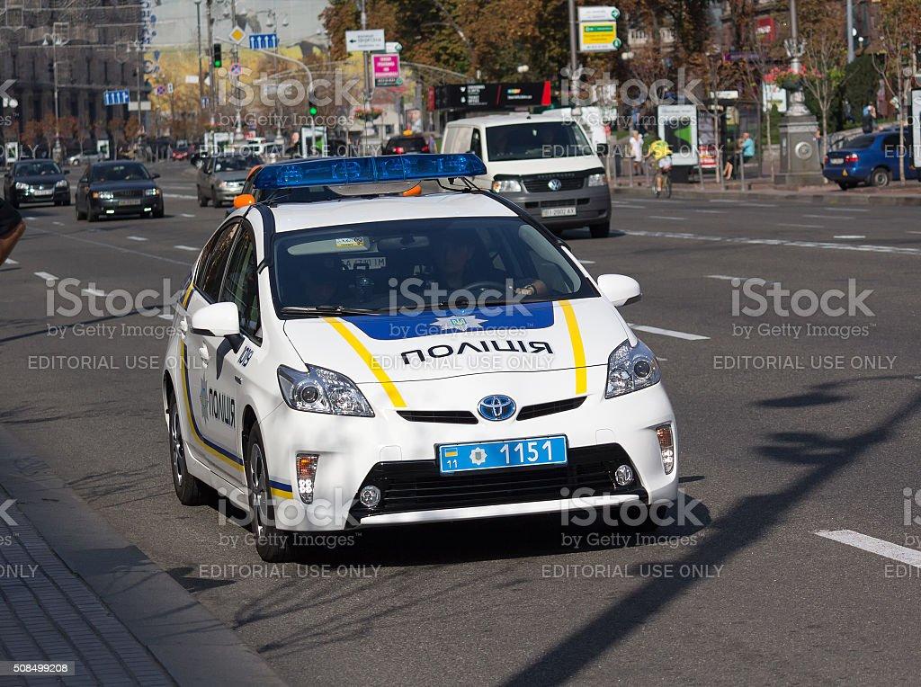 Ukrainian police patrol car. Kiev, Ukraine stock photo