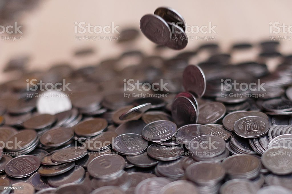 Ukrainian silver coins. Pyramid of money stock photo