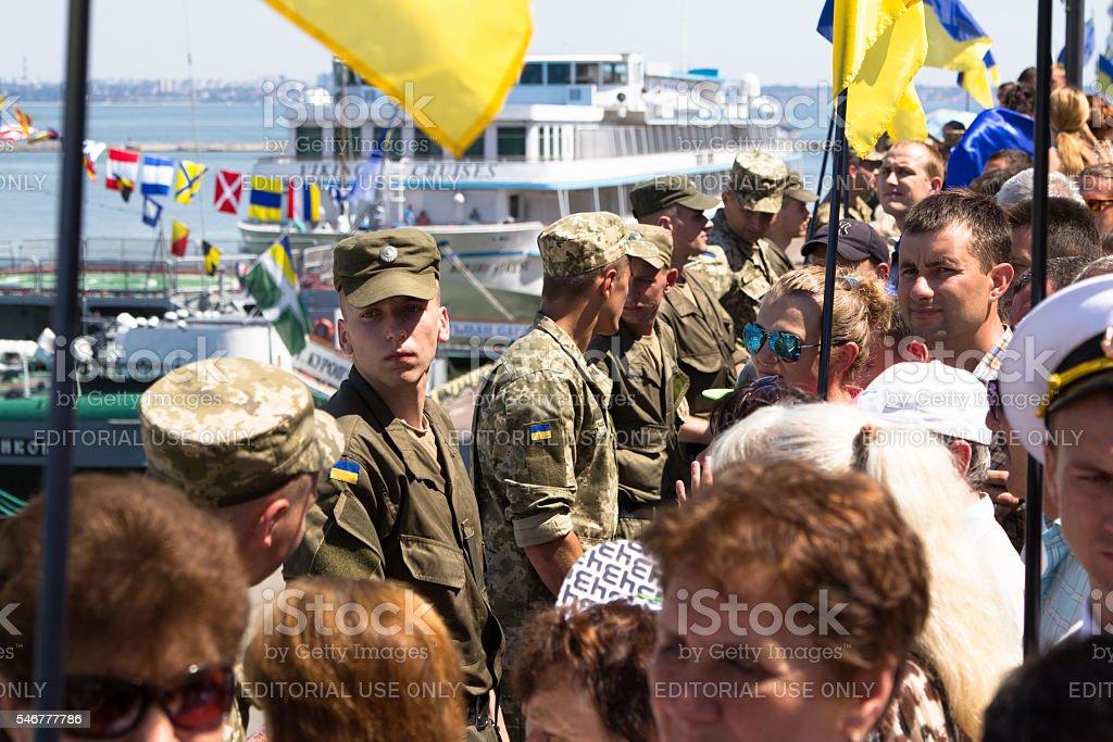 Odesa, Ukraine - July 03, 2016: Ukrainian soldiers in the stock photo