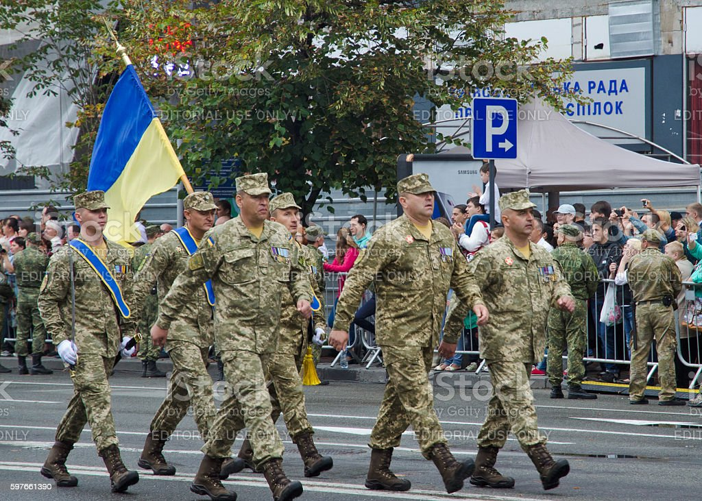 Ukrainian soldiers marching at the military parade stock photo