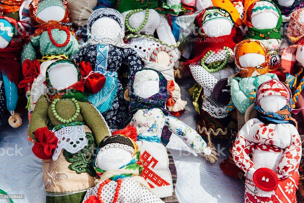 Ukrainian souvenir - a knitted toy talisman stock photo