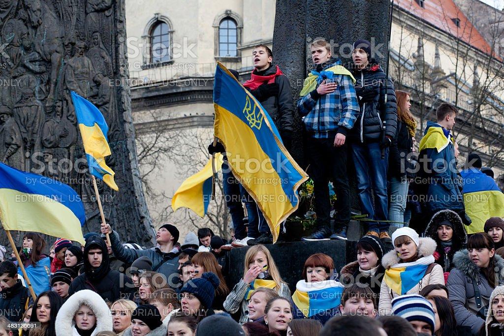Ukrainian students singing national anthem during pro EU demonstrations stock photo