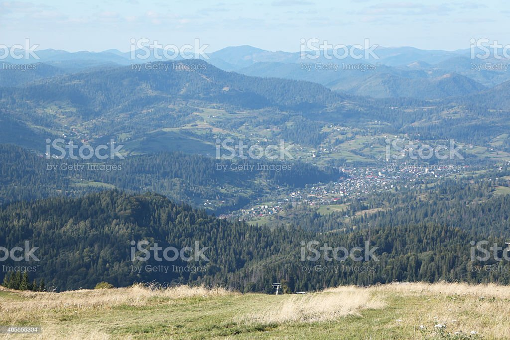 Ukrainian Village among the Range of Carpathian Mountains royalty-free stock photo
