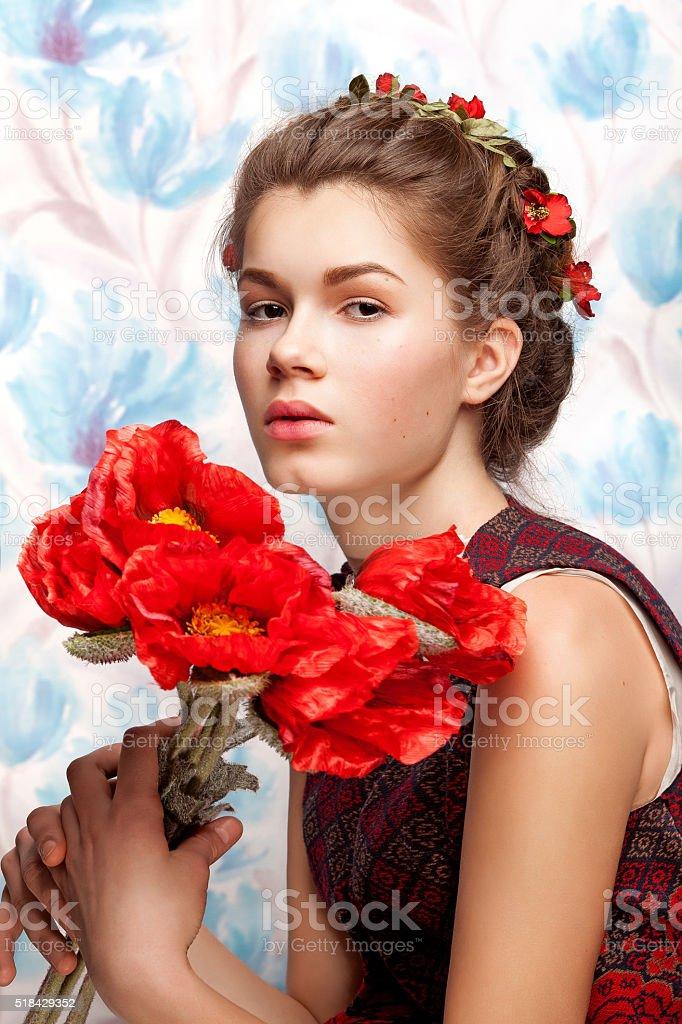 Ukrainian woman with flower stock photo