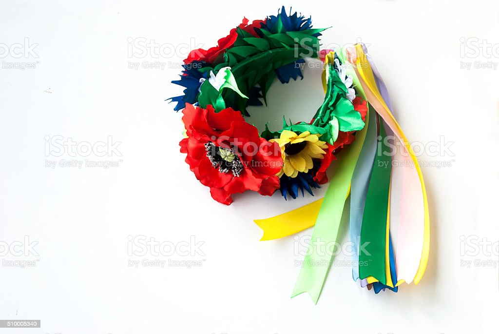 Ukrainian wreath and embroidered shirt for girls stock photo