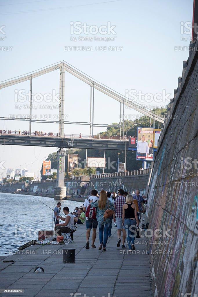 Ukrainians fishing at the Dnieper River in Kiev stock photo