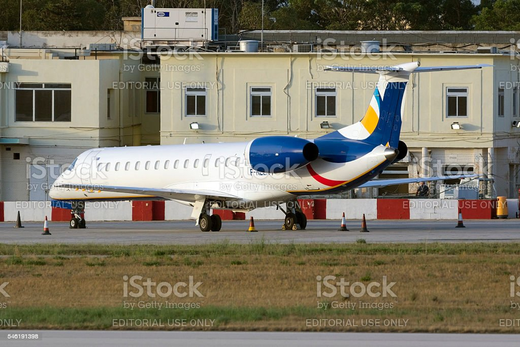 Ukrianian airliner at rest in the apron stock photo