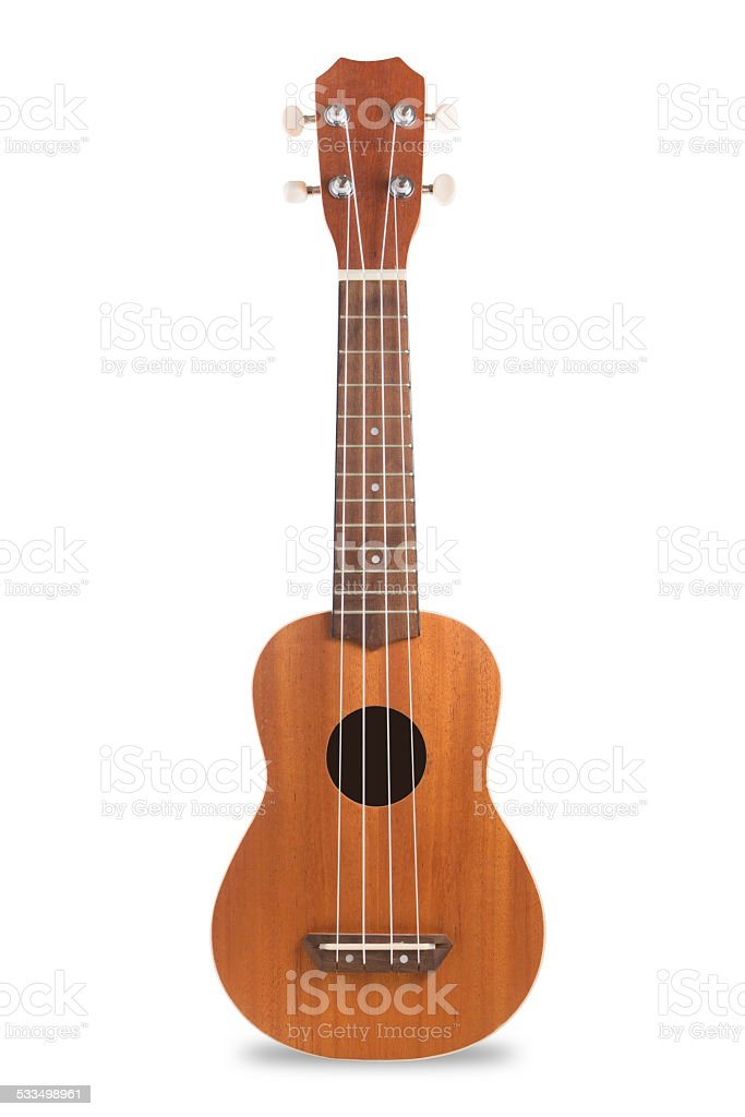 Ukulele guitar isolated on white. stock photo
