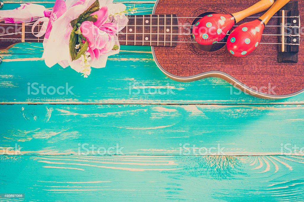 Ukulele / Hawaii Ukulele Music Instrument Background stock photo
