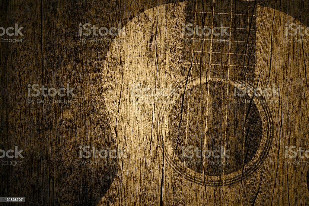 Ukulele in wood texture background stock photo