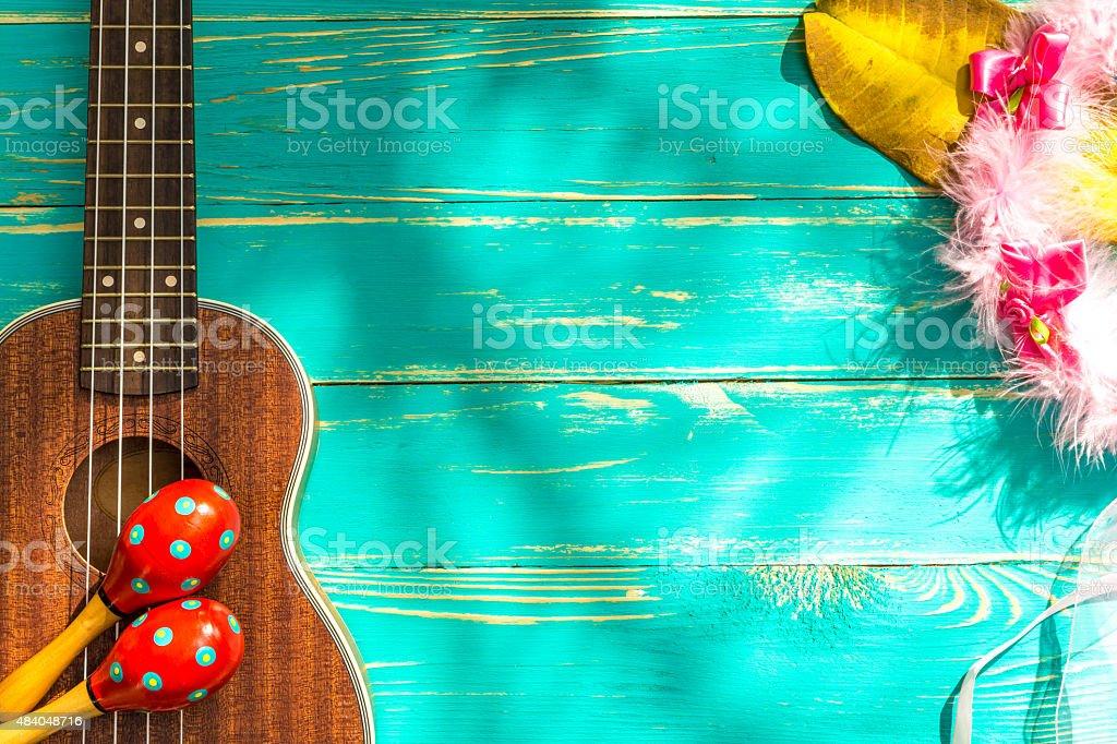 Ukulele with Hawaii Style Background stock photo