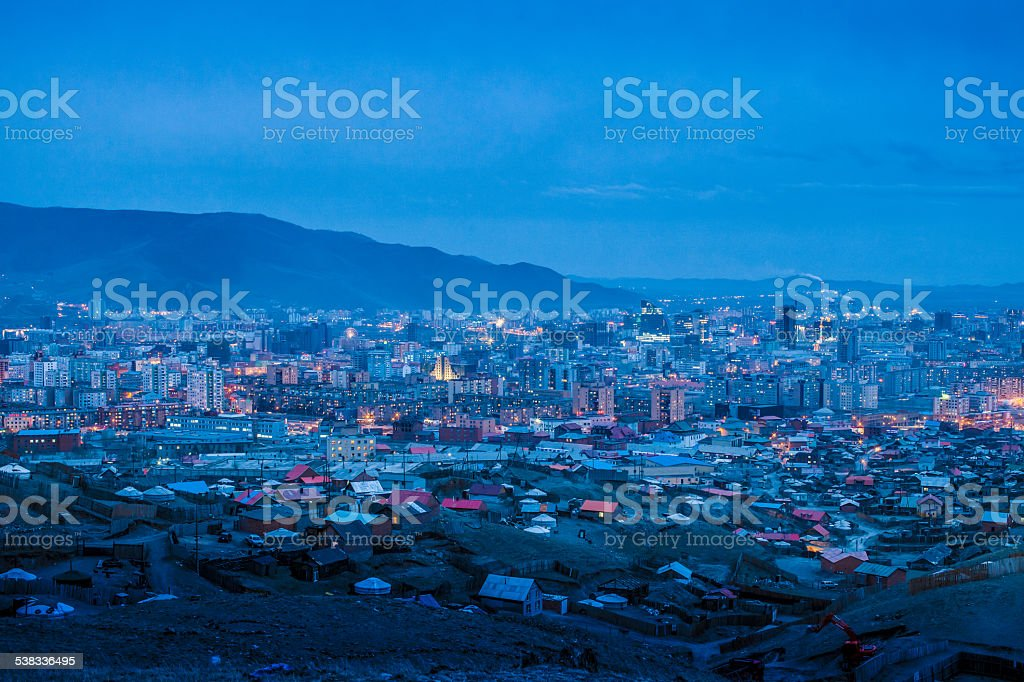 Ulaanbaatar Cityscape blue night stock photo