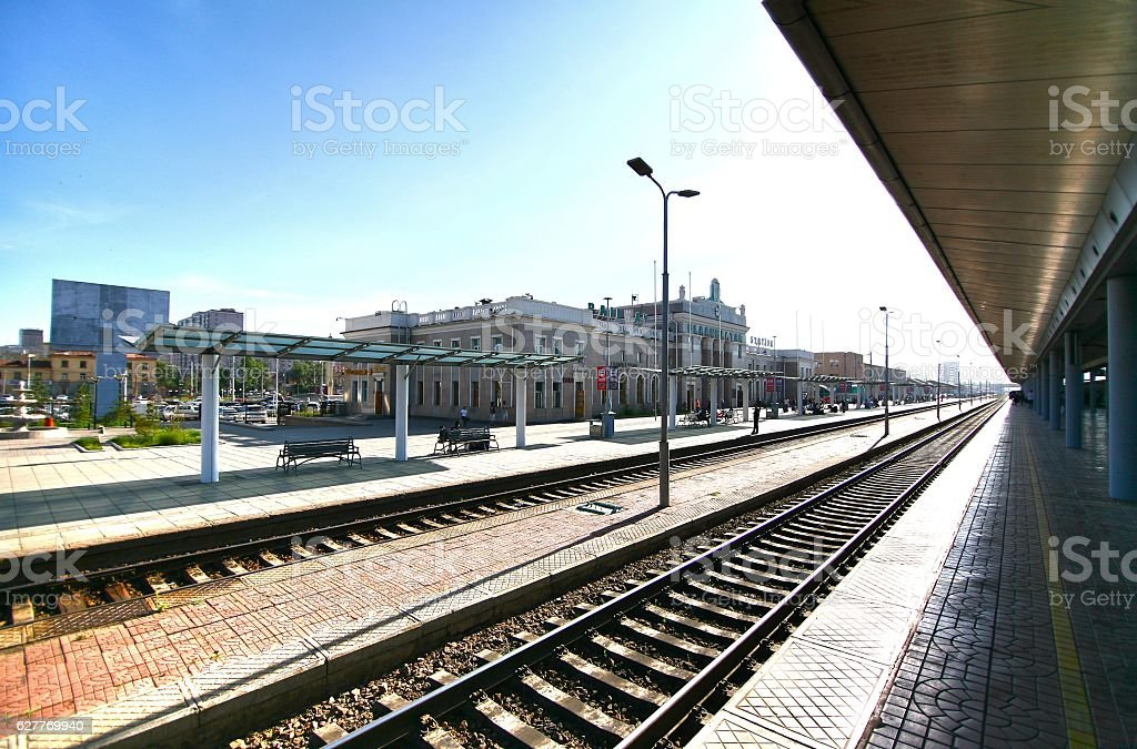 ulaanbaatar railway  station  in mongolia stock photo