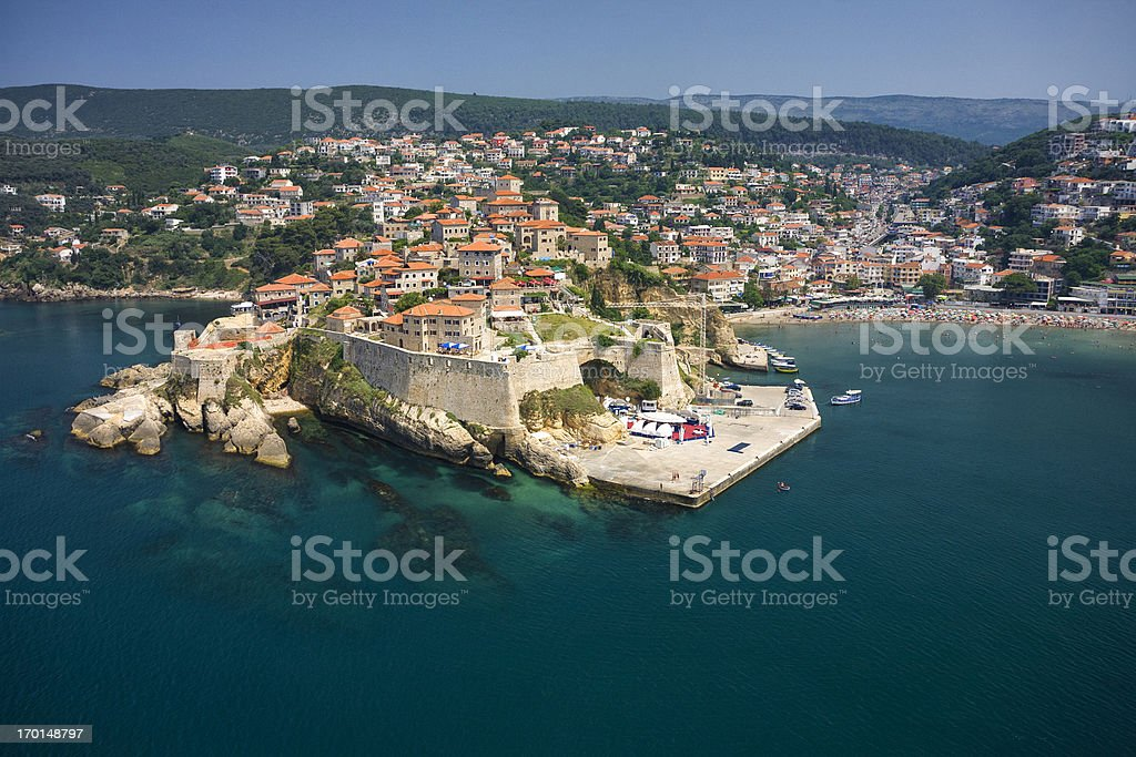 Ulcinj, Montenegro (aerial view) stock photo