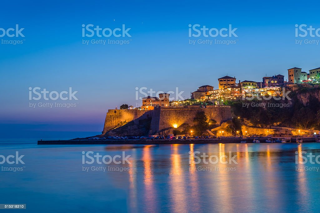 Ulcinj old town fortress at night with silky water and stock photo
