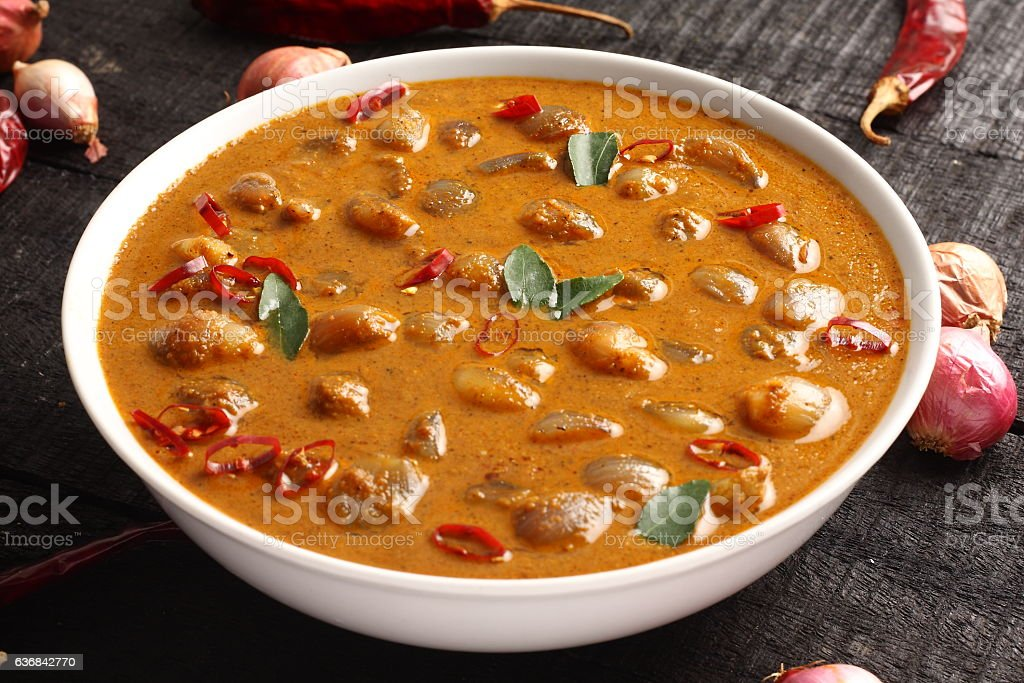 Ulli theeyal-made of onions,roasted coconut and spices, stock photo
