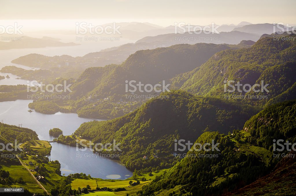 Ulriken Fl?yen hike stock photo