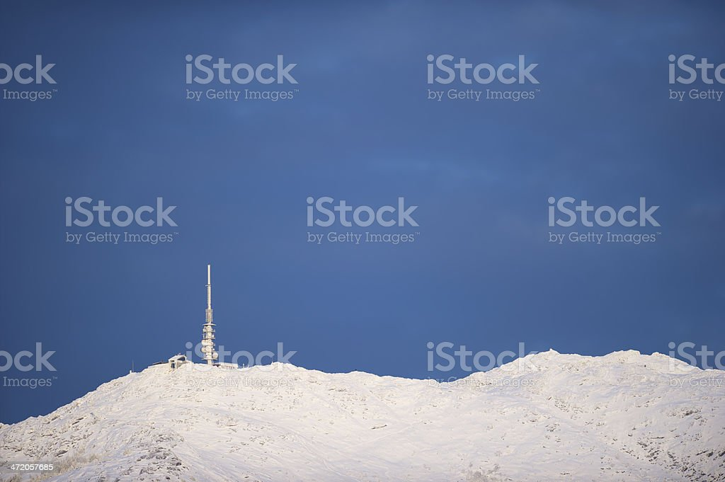 Ulriken is the highest of Seven Mountains that surround Bergen stock photo