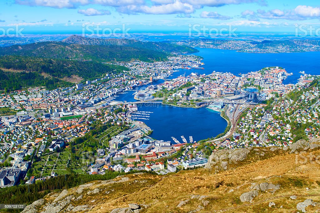 Ulriken's views over Bergen a sunny day stock photo