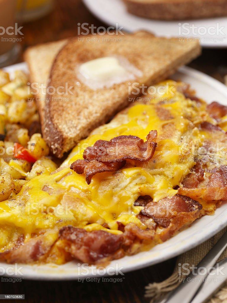 Ultimate Bacon And Cheddar Cheese Omelette stock photo