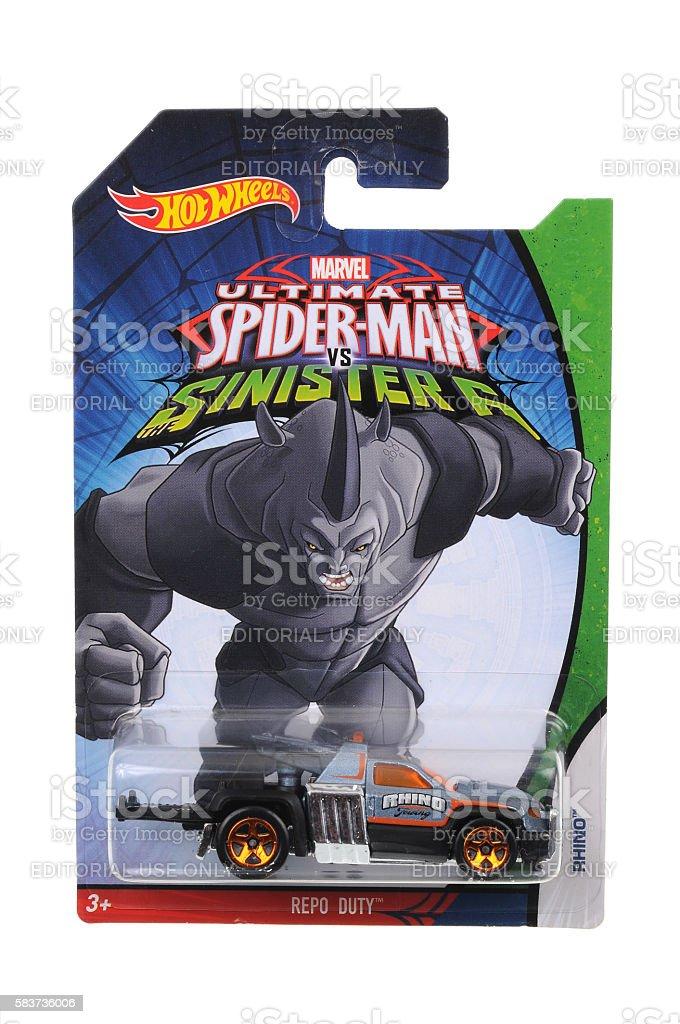 Ultimate Spiderman Rhino Hot Wheels Diecast Toy Car stock photo