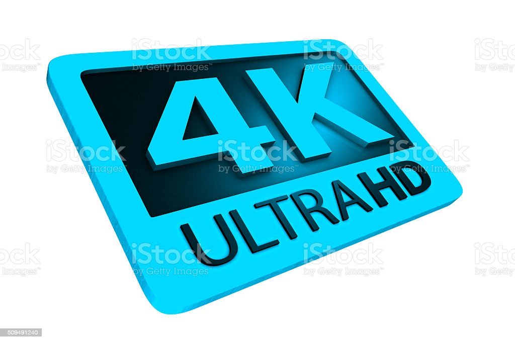 Ultra HD 4K icon. 3D render. stock photo