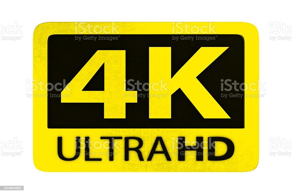 Ultra HD 4K icon stock photo