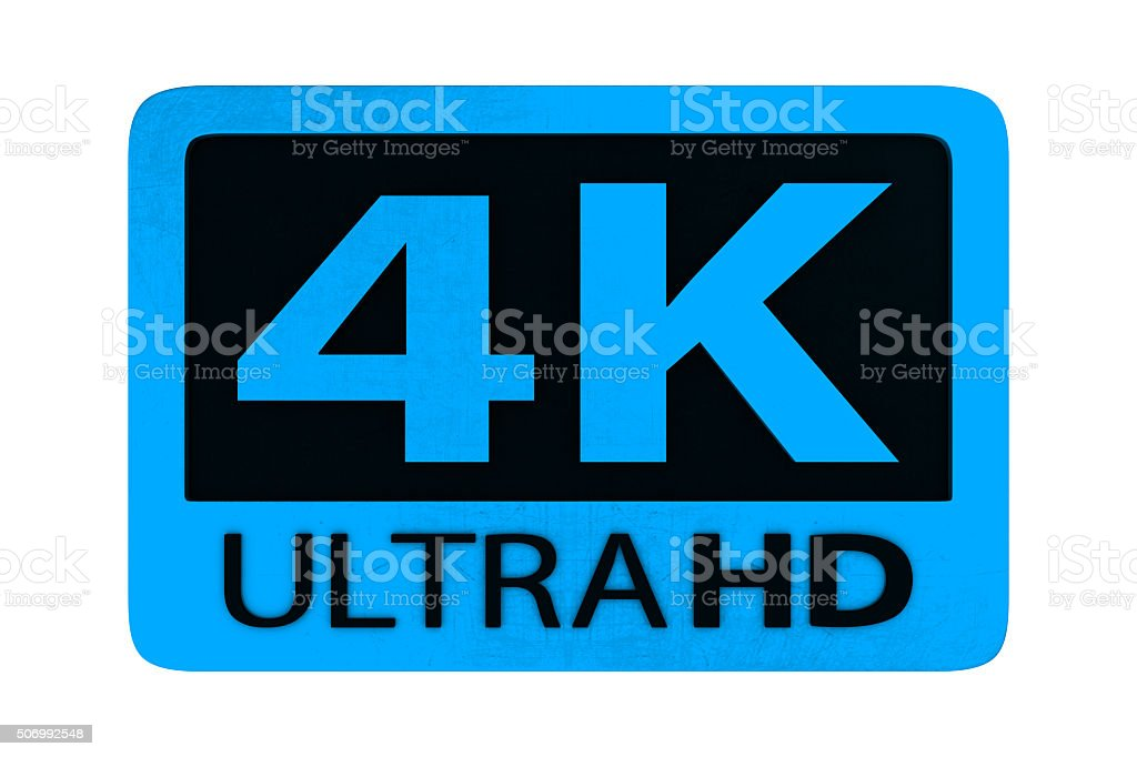 Ultra HD 4K icon stock photo