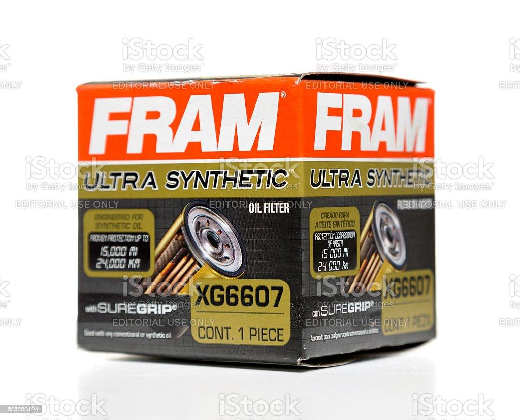 FRAM ultra synthetic oil filter box side stock photo