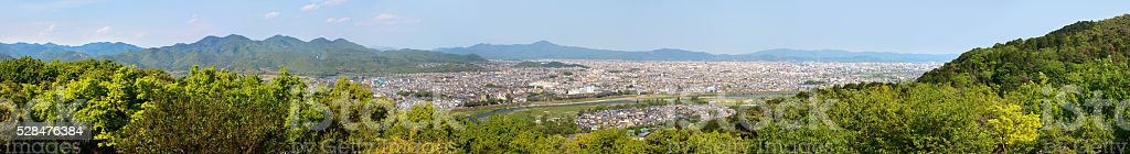 Ultra wide panorama of Arashiyama and Kyoto city in Japan stock photo