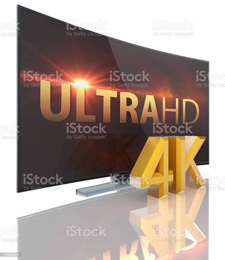 UltraHD Smart Tv with Curved screen stock photo