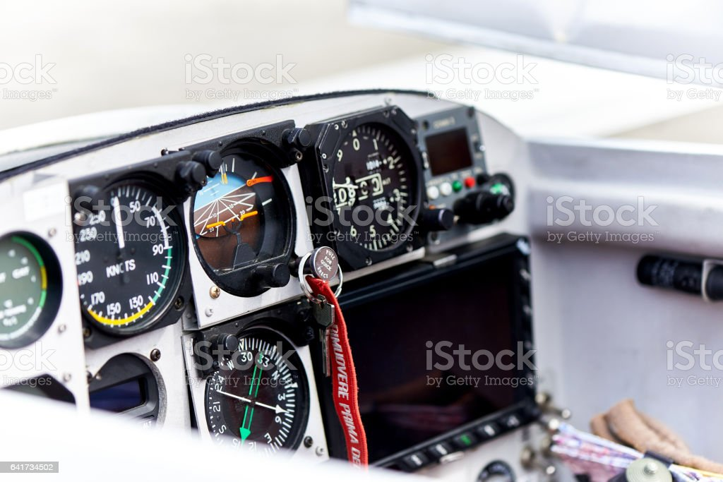 Ultralight aircraft cockpit stock photo