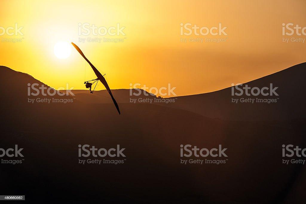 Ultralight -Hang Glider Pilot Launching stock photo