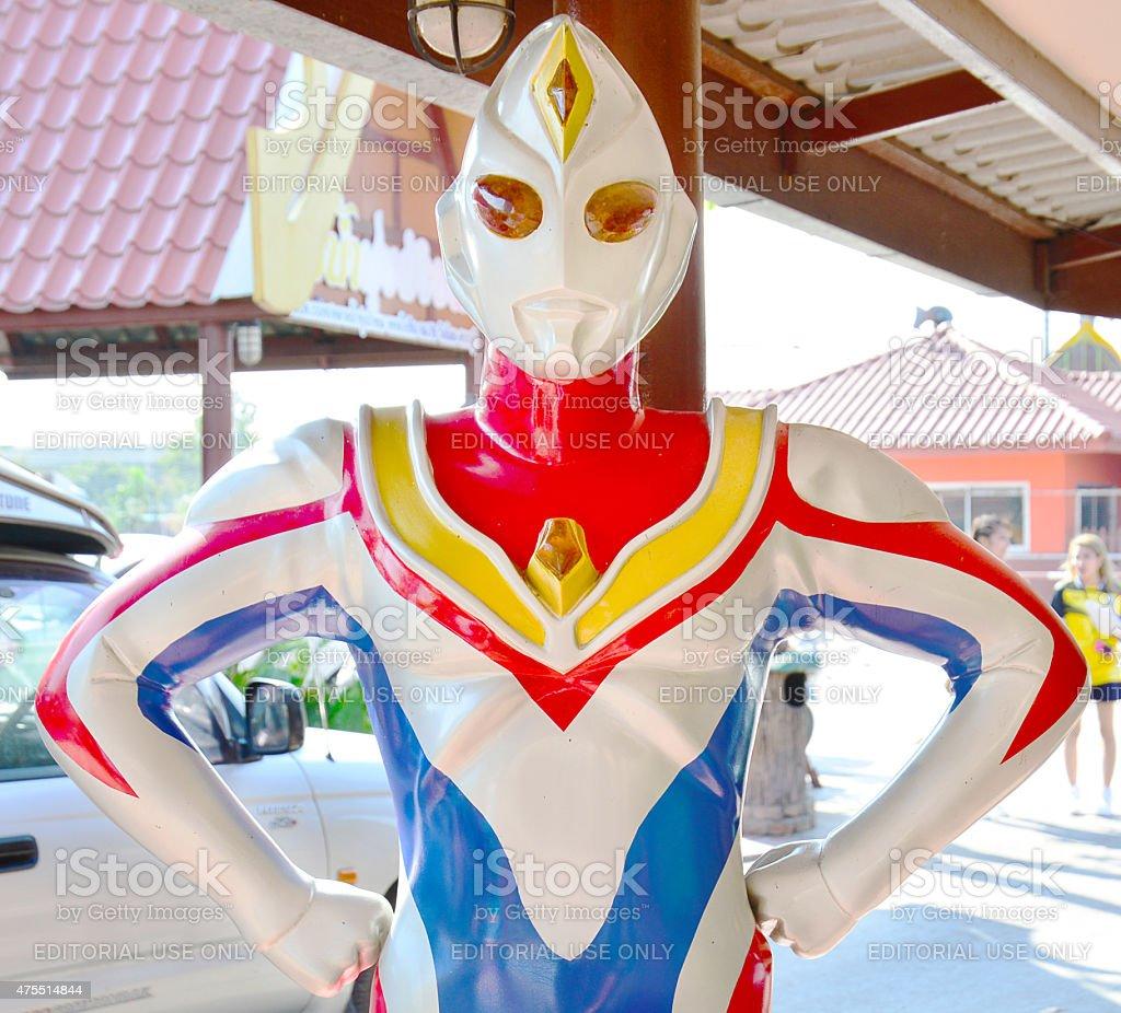 Ultraman model  at Thung Bua Chom floating market stock photo