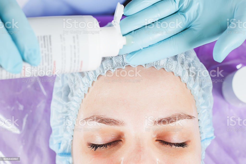 Ultrasonic cleaning of the face rejuvenation stock photo