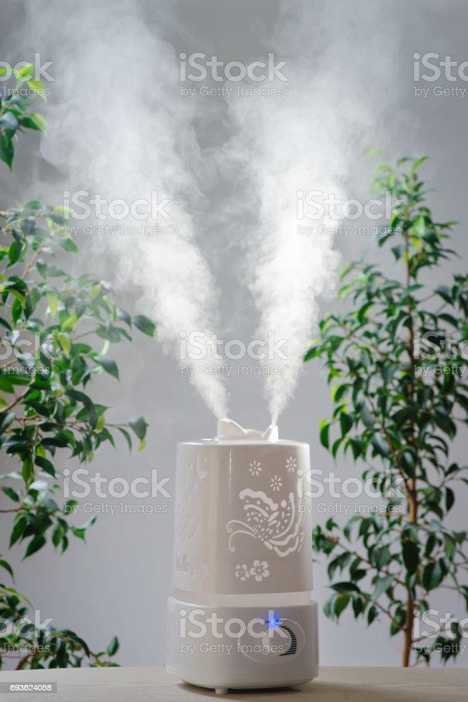 ultrasonic humidifier in the house. Humidification. Vapor stock photo