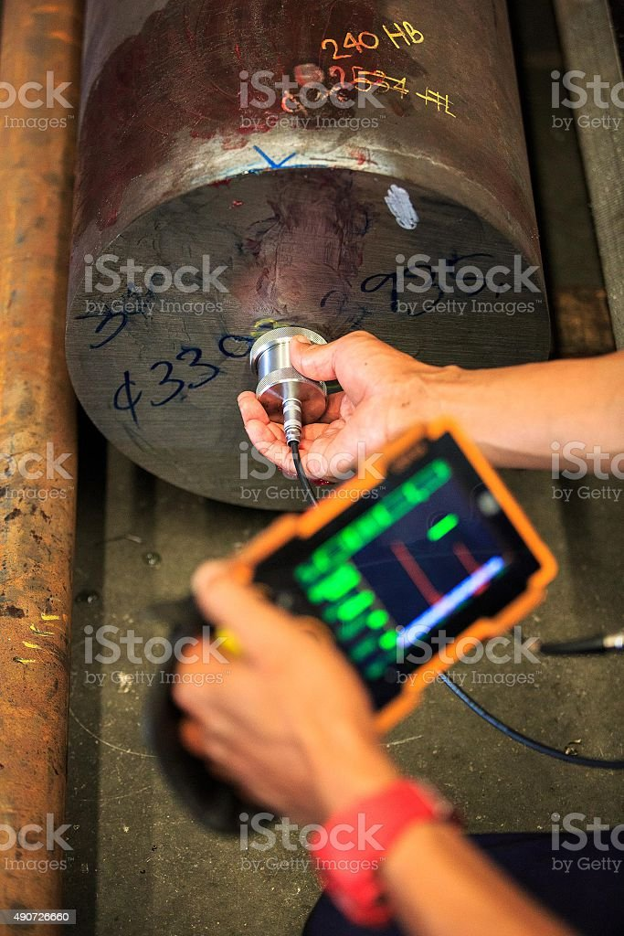 Ultrasonic test round bar forge for finding internal defect stock photo
