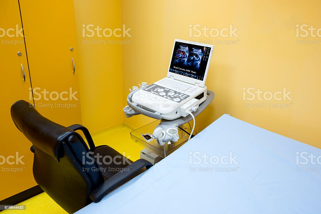 Ultrasonography (ultrasound) machine in hospital stock photo