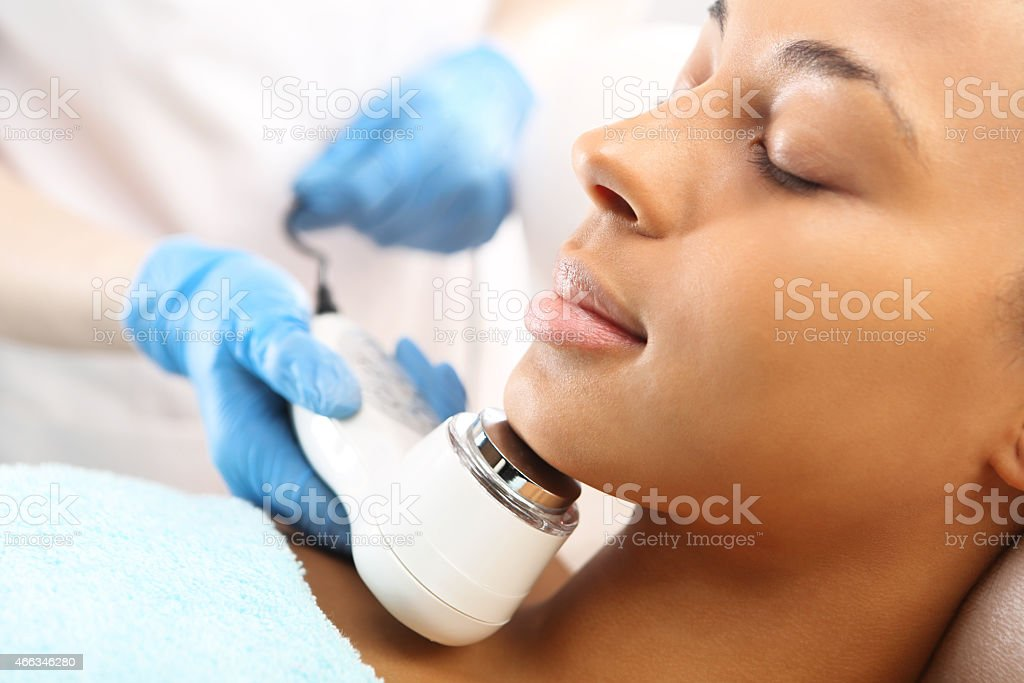 Ultrasound infrared light cosmetic treatment for the face stock photo